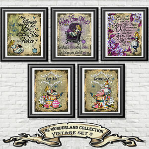Alice-In-Wonderland-Quote-Set-Dictionary-Book-Page-Print-Wall-Art-Picture