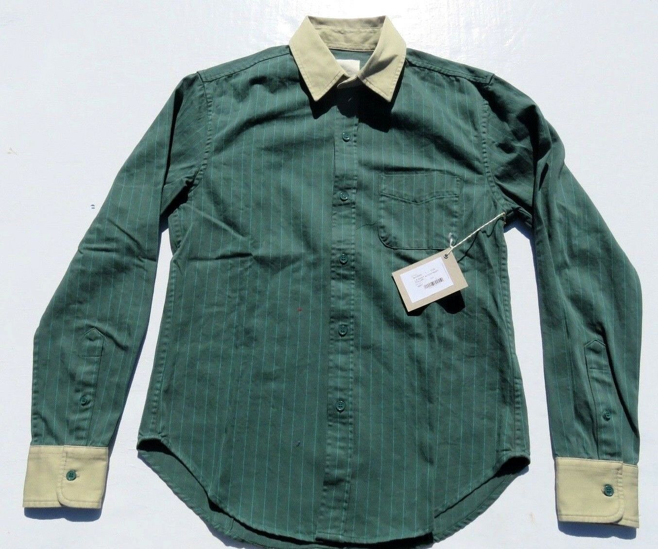 Uomo BAND OF Sleeve OUTSIDERS verde Striped Long Sleeve OF Button Shirt sz 2 Medium NWOT 4072f6