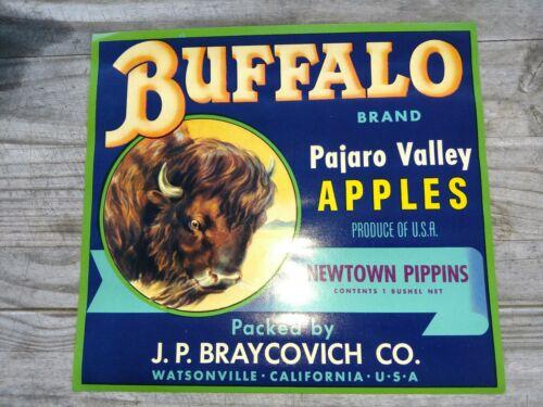 BRAYCOVICH BUFFALO c1920/'s apple Crate Label WATSONVILLE CALIFORNIA early litho