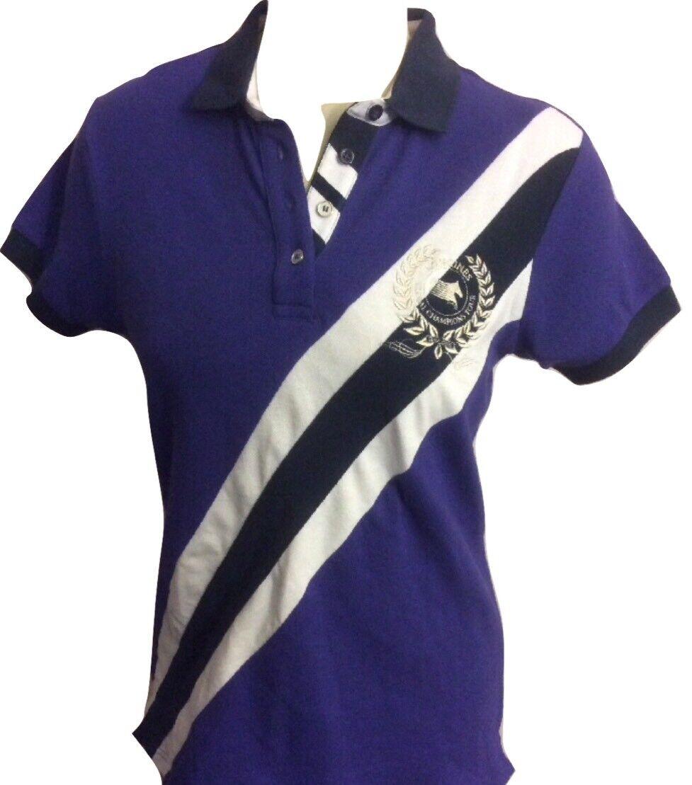 NWT Longines Global Championship Ladies Pique Cotton Polo Shirt Medium lila