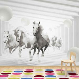 Details zu Fototapete Vlies Pferde Tiere 3D - Mädchen Kinderzimmer  Schlafzimmer (20304V4)