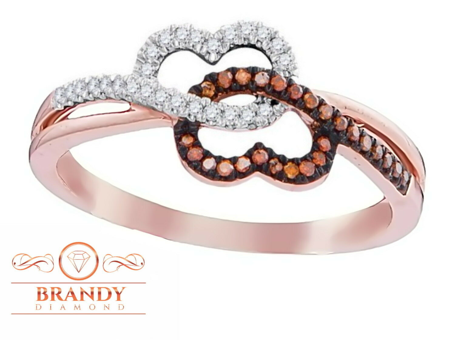 Brandy Diamond® Chocolate Brown 10K pink gold Always Linked To My Heart Ring