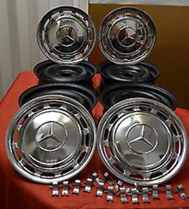 Original-Mercedes-Stahlfelgen-mit-chrome-Radkappen-W123-W126-W116-W107