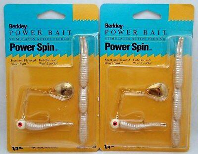 2pcs Berkley Power Spin Bait Spinner Bait Skirt Bass Fishing Lure 1//4oz White