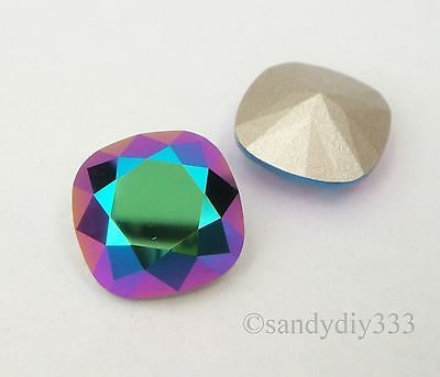2x SWAROVSKI 4470 Scarabaeus Green 12mm SQUARE CABOCHON FANCY STONE CRYSTAL (F)