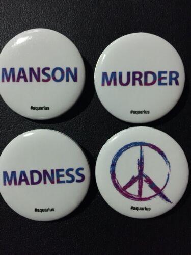 2015 SDCC EXCLUSIVEAquarius Charles Manson Promo Button Set of 4