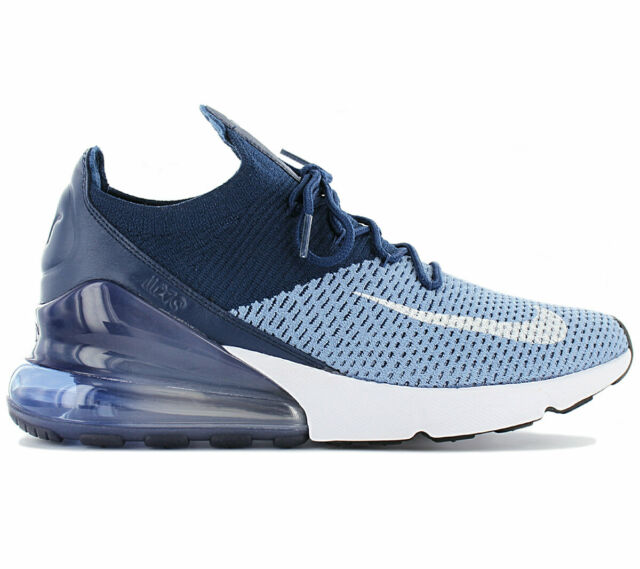 Nike Air Max 270 Flyknit Running Shoes Navy Blue White (ao1023 400) Size 9.5