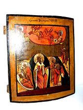 Große russische Ikone feuerliche Himmelfahrt Prophet Elijas 18. Jhd. 42x37cm