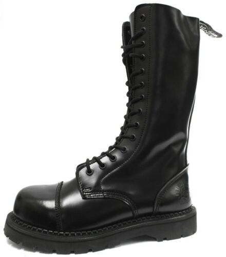 Safety Steel Rock Black New Punk Grinders Herald Boots Cap Leather Combat 0nYOq