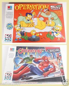 Operation-Board-Game-Simpsons-Spiderman-Missing-Parts-Spares-Spare-Cards-Money