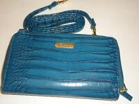 Buxton Women's Fat Croco Double Zip Organizer Wallet On A String, Teal