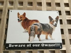 Vintage-Style-Metal-Dog-Sign-Retro-Hanging-Plaque-BEWARE-OF-OWNER-CORGI-20cm
