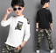 2pcs Teenager Kids Boy Sport Camouflage Outfits Tops+Pants Cotton Casual Clothes