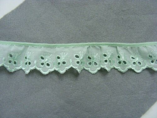 Broderie Anglaise Gathered Lace Mint x 5 mts 7348