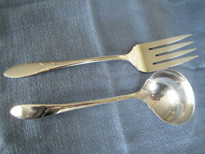 Vintage-LADY-HAMILTON-Cold-Meat-Fork-amp-Gravy-Ladle-1932-Silverplate-by-Oneida