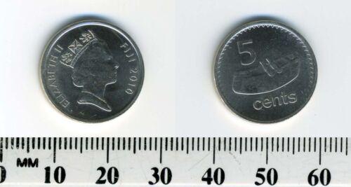 lali Fiji 2010-5 Cents Nickel Plated Steel Coin Fijian drum Elizabeth II