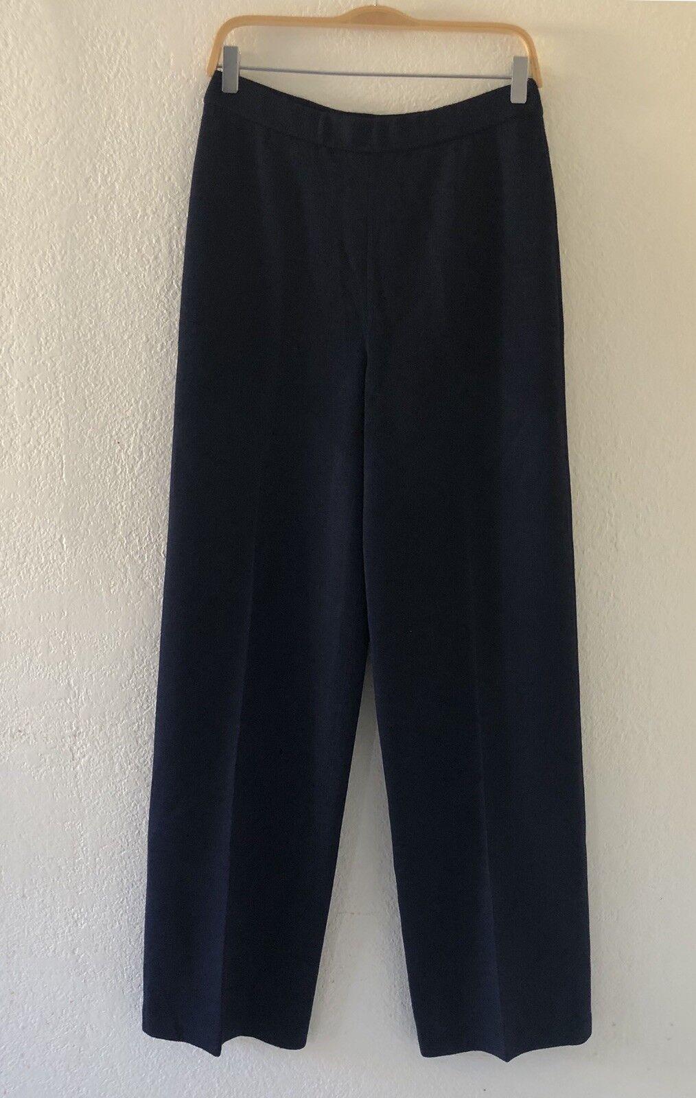 St John Collection Navy bluee Santana Knit Pant Size 8 Elastic Waist