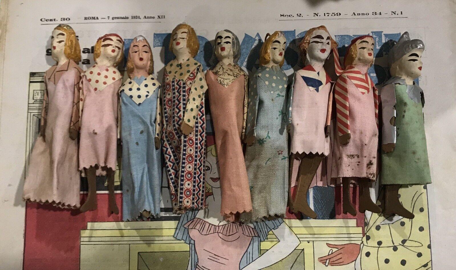 9 marionette d'epoca - TEATRINO anni 20-30 soldato abiti carta gesso giocattolo