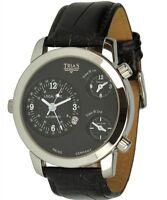 Trias Uhr Modell Cosmopolitan Mit 3 Zeitzonen, Schwarze Xxl Herrenuhr
