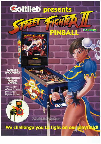 PUBLICITE  DE FLIPPER F LYER GOTTLIEB STREET FIGHTER