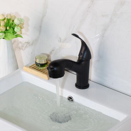Black Bathroom Waterfall  Basin Sink Mixer Faucet Handheld Spout 1 Handle Taps