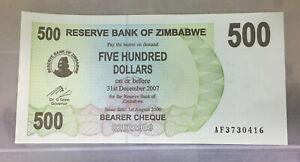 2007 Zimbabwe 500 Hundred  dollars AF3730416 UNC