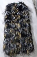 Furry Leg Warmers - Black White Yellow - Fluffies party dance tri color rave EDM