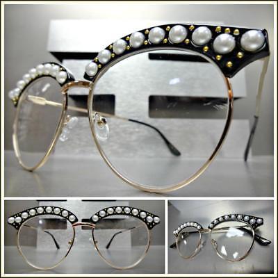 OVERSIZED RETRO Style Clear Lens EYE GLASSES Black /& Gold Pearl Frame HANDMADE!