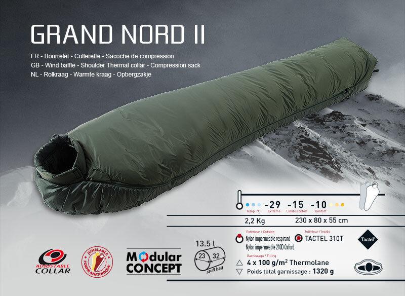 WILSA Grand Nord, 4 temporadas de campamento, bolsa de dormir, nuevo verde.