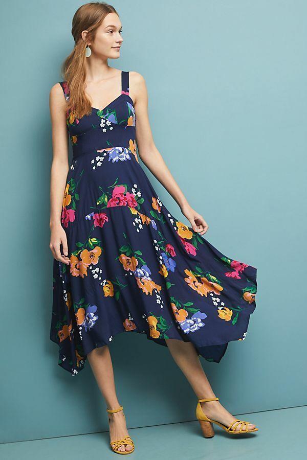 NWOT Antropologi Vivienne Maxi Floral Print Dress storlek 6P petite