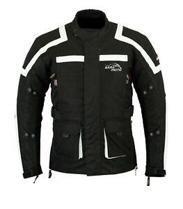 Black-Motorcycle-Waterproof-Cordura-Textile-Jacket-Vented-Motorbike-CE-Armour
