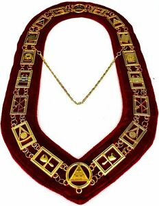 MASONIC REGALIA  ROYAL ARCH  APRON with CHAIN COLLAR RED-HSE
