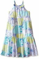 Gymboree Tide Pool Girls Size 5 5t Aqua White Floral Tiered Long Maxi Dress