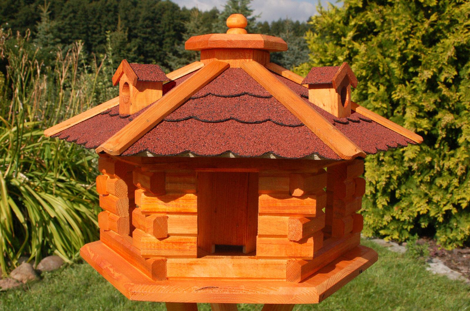 XXL Casetta Casa Mangime Uccelli Casetta tetto rosso v16