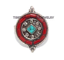 Adjustable Turquoise Ring Coral ring Gypsy ring Tibetan ring Tibet Ring RB40