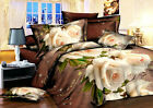 3D Duvet Cover Pillowcase Quilt Cover Bedding Set Single Queen King oAUr Rose W