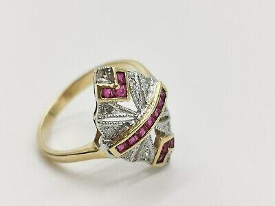 Initiative Antiker Art-deco Damen-ring Aus Gelb-gold 14k 585 Mit Diamanten Und Topas Modische Muster