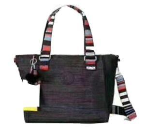 BNWT KIPLIN* Amiel medium nylon satchel bag w/long strap & monkey in jaded green