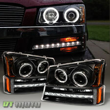 2003-2006 Chevy Silverado 1500 LED Projector Headlights+LED DRL Bumper Lights