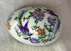 LIMOGES-France-Porcelain-EGG-Trinket-Box-Flowers-Blue-Birds-NEW