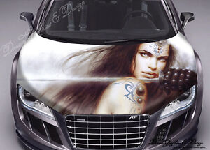 Abstract 3D Hood Full Color Graphics Wrap Decal Vinyl Sticker Fit any Car #099