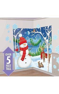 CHRISTMAS SNOWMAN WINTER FRIENDS SCENE SETTER PARTY WALL ...