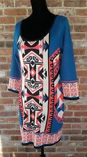 Flying Tomato Sweater Dress Tribal Print Polyester Above Knee Length Size Large