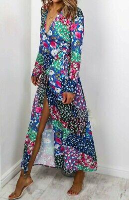 John Zack Wrap Over Maxi Dress  Long Floral Patchwork Boho Holiday