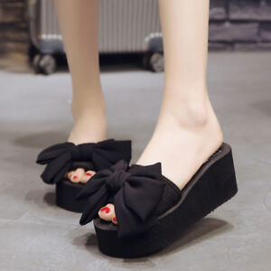 Women s Bow Tie Slippers Summer Platform Sandals Casual Slides Shoes ...