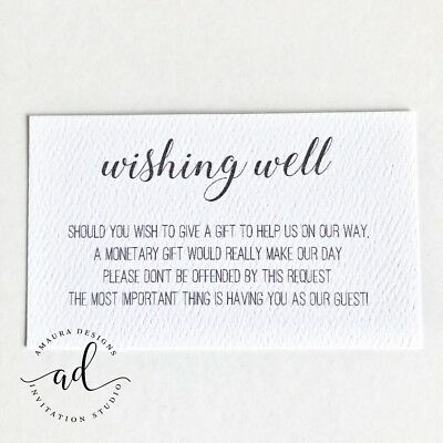 10 X White Wishing Well Cards Simple