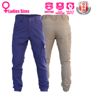 Ladies-Cargo-Pants-Trousers-Elastic-Cuff-Cotton-Work-Wear-Tapered-Look-UPF-50