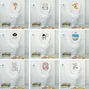 Removable diy toilet seat wc bathroom art vinyl home decals decor wall sticker - Decor wc ...