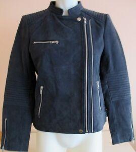 Blouson-en-cuir-bleu-Caroll-taille-40