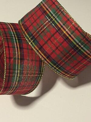 "Christmas Red Stewart Tartan Plaid WIRE EDGED RIBBON 2-1//2/"" x 5 Yards"